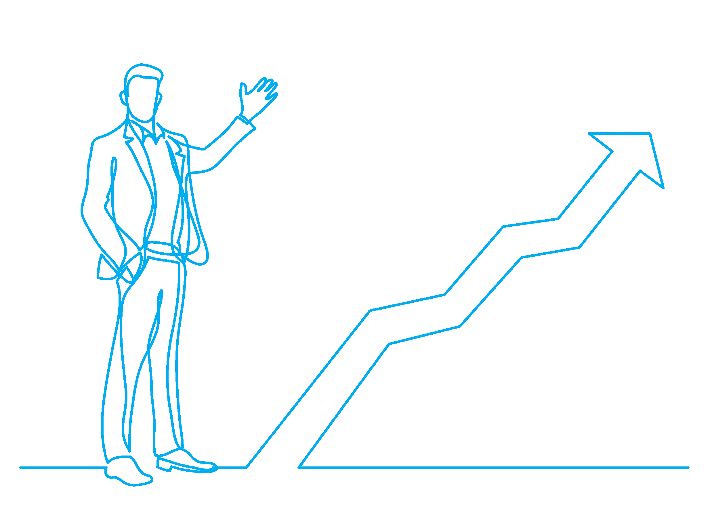 line drawing of man with graph