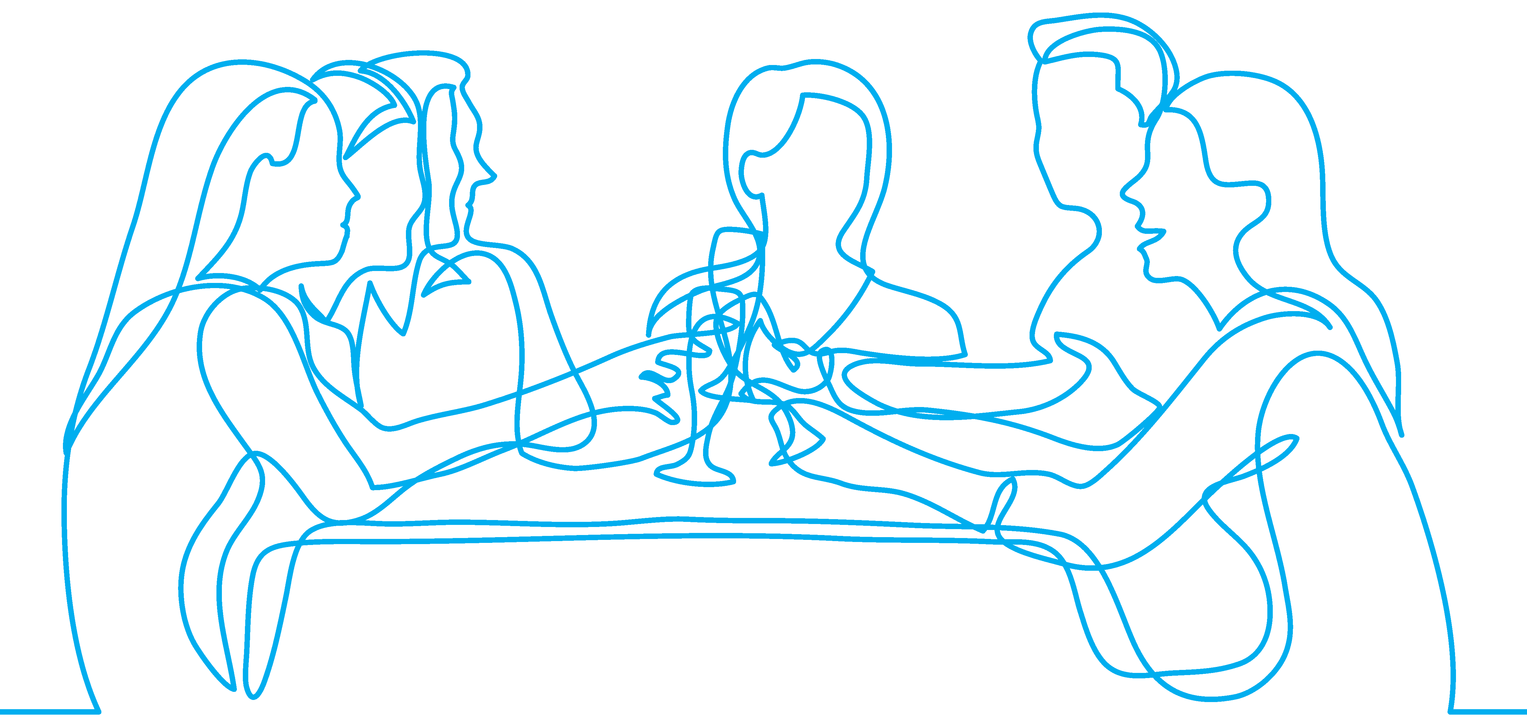 bluQube line drawing business meeting