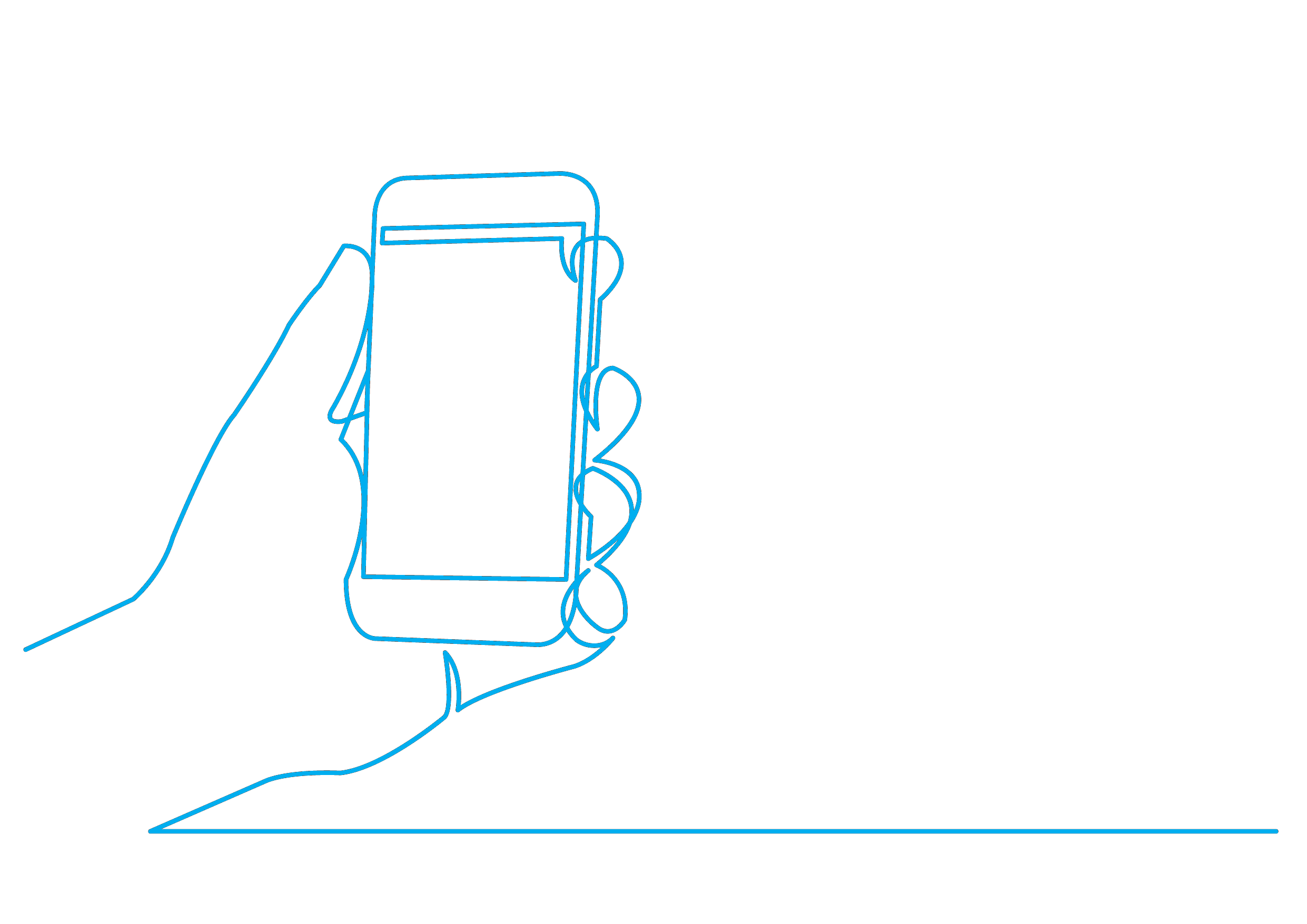 bluQube line drawing of a mobile phone