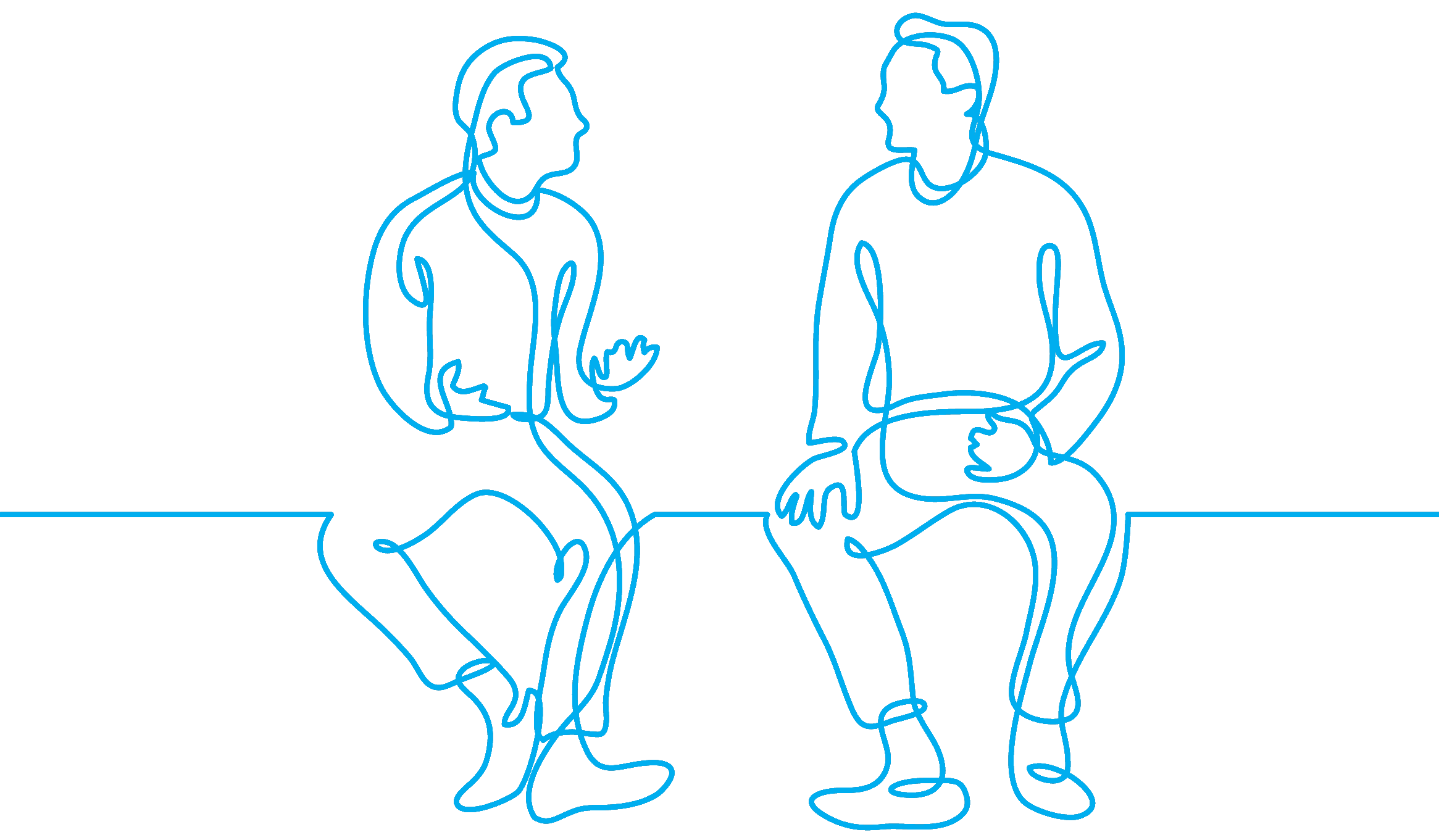 bluQube line drawing men chatting