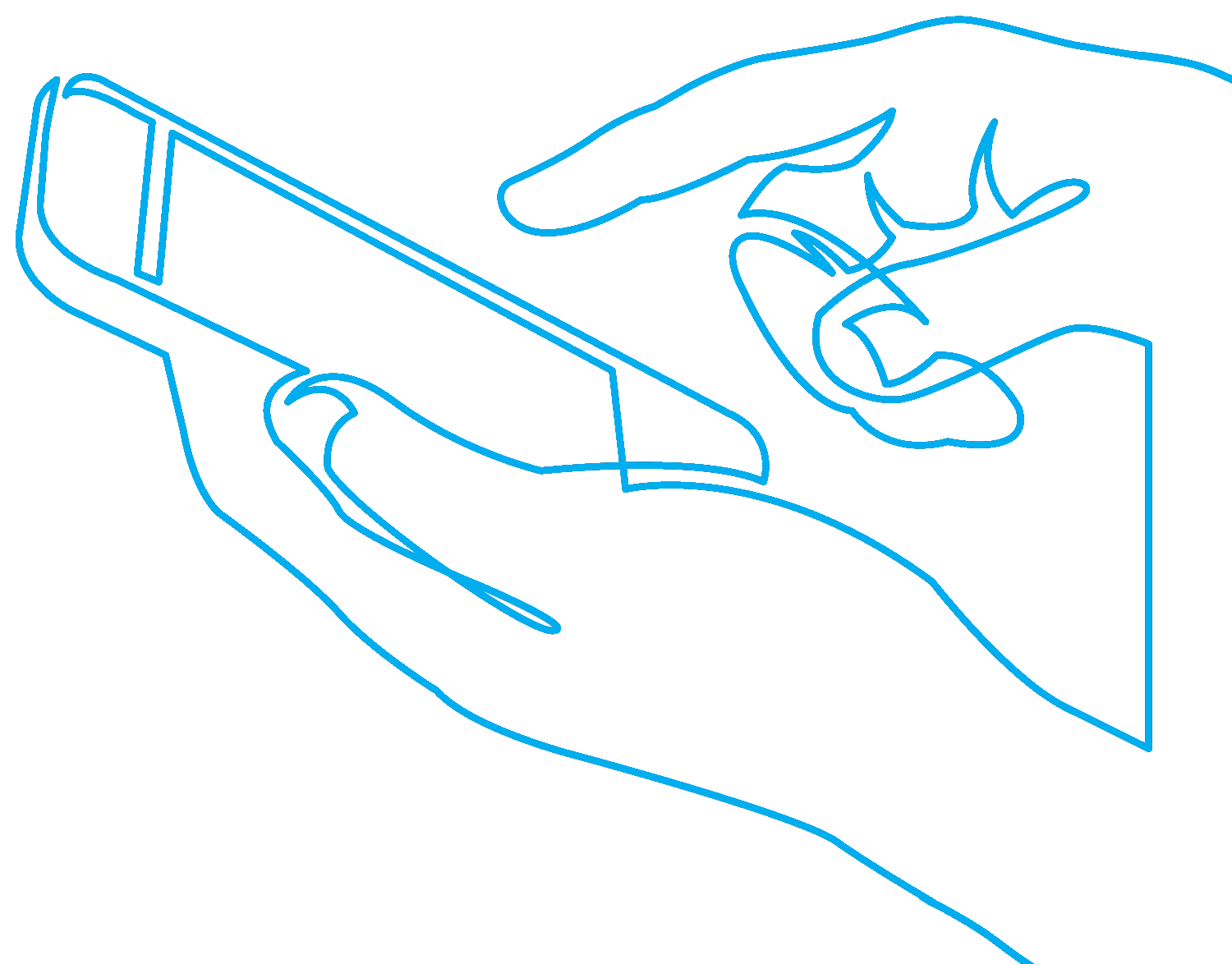 Line drawing of a mobile phone
